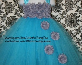 Turquoise Tutu Dress with Silver Flowers Cascading, Turquoise Silver Tutu Dress, Turquoise Flower Girl Dress, Flower Girl Tutu Dress