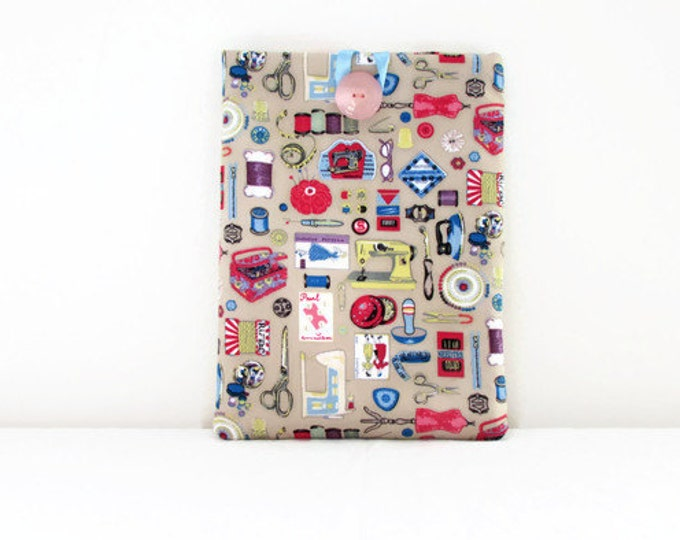 Clearance Ipad Air case, beige craft print fabric, tablet sleeve,  padded tablet cover, Ipad Air cozy, gift for Crafter, handmade in the UK