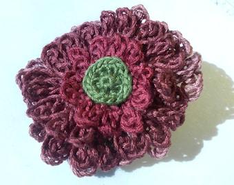 Crochet Flower Hair Clip Purple