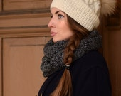 Ivory knit hat with fur pom pom