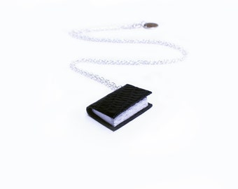 Black Lizard Texture Handcrafted Miniature Book Necklace - Geek Chic - Book Lover - Book Jewellery - Black Leather