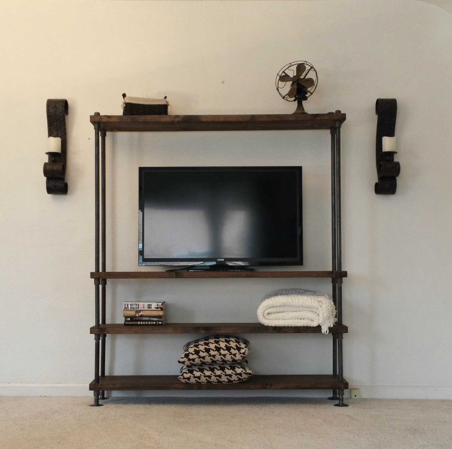 Industrial Entertainment Center TV Stand Media