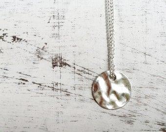 Necklace tibetan silver round pendant, minimalist