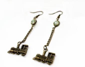 Long Train Earrings, Steampunk Earrings, Steampunk Jewelry, Steam locomotive Earrings, Steam punk Earrings, Bronze, Green Glass Czech Beads