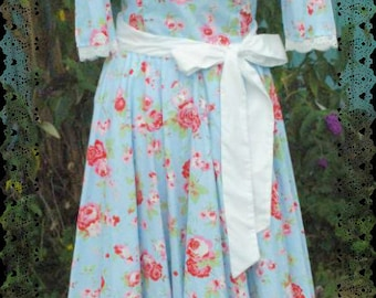 1950s style blue floral swing dress size 8