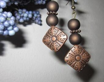 Copper Earrings, Copper Dangle Earrings, Brown Dangle Earrings, Brown Earrings, Dangle Earrings