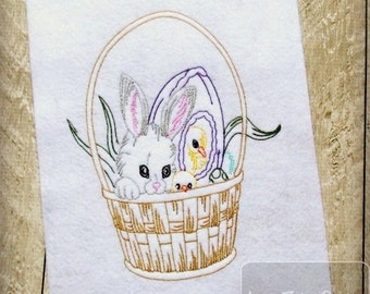 Easter Basket Sketch Stitching Embroidery Design - Easter sketch embroidery design - Easter embroidery design - Rabbit embroidery design