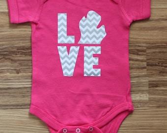 Baby Onesie, Baby Gift,  LOVE Michigan Chevron Hot Pink Onesie!