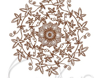 MACHINE EMBROIDERY DESIGN - Ornament with passiflora, circular embroidery ornament