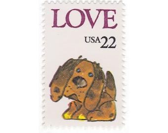 1986 22c Love Puppy - 10 Unused Vintage Postage Stamps - Item No. 2202