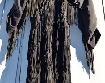 1960s Black Fringe Flapper Dress
