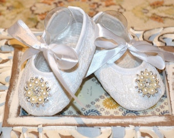 White Baby Girl Crib Shoes for Christenings, Baptisms, Weddings and other special occasions, White Baby Shoes,White Crib Shoes