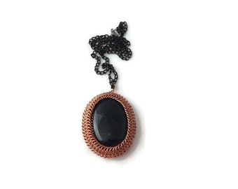 Wrapped Chainmaille Pendant - Blue Goldstone Pendant Wrapped in Copper - Statement Pendant