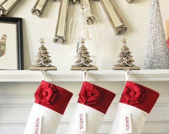 CHRISTMAS STOCKING, PERSONALIZED White felt Stocking, Wool Stockings, Family Stockings, Monogrammed Stockings, Unique Stockings, Beautiful!