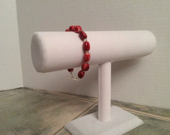Orange Ceramic Bead Bracelet