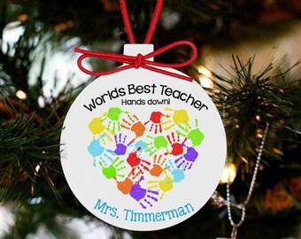 Personalized teacher ornament teacher christmas gift personalized worlds best teacher ornament THDCO