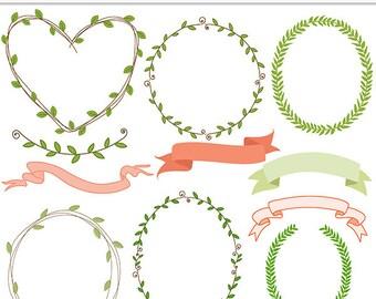 WOODLANDIA clip art- frames banners spring - printable, scrapbooking, cards - Ltd Commercial Use Wedding