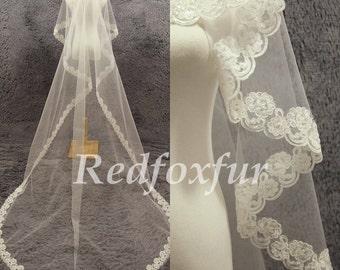 Hand-beaded cathedral veil, wedding veil, bridal veil, Alencon lace cathedral veil, diamond edge veil, ivory veil