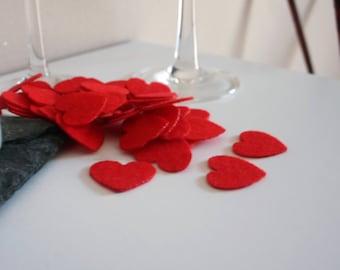 50 x Red Heart Shapes - Felt Shapes - Laser Cut - UK