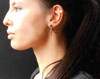 Spike ear cuff earrings, gold spike earrings, rock style, chain ear cuff earrings