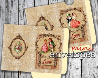 VERSAILLES  -  Printable 2 Mini Envelopes Journal pocket Download Digital Collage Sheet  - Print and Cut