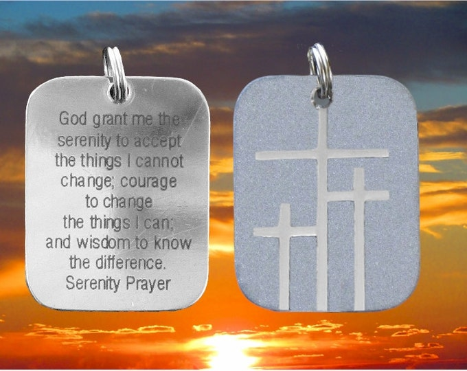 Silver Calvary 3 Cross Serenity Prayer Dogtag Necklace Pendant Womens Mens Christian Jewelry - Saint Michaels Jewelry - Calvary Three Cross