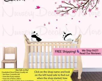 Branch Wall Decal Nursery Branch Decal Panda on Branch Decal (Pink Brown ShortBranchPanda) PRDB1 B62_F1-47_F2-48_C81_Bu46