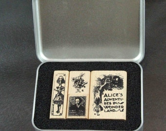 Alice in Wonderland 02 Rubber Stamp Set in Metal Tin with hinged lid