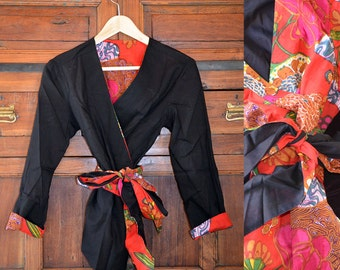 Boho style  Reversible Wrapped shirt - Red and black - Vintage