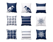 Navy White Throw Pillow Covers Navy Blue White Decor Modern Pillows Living Room Decor Couch Cushion Cover Paisley Print Striped