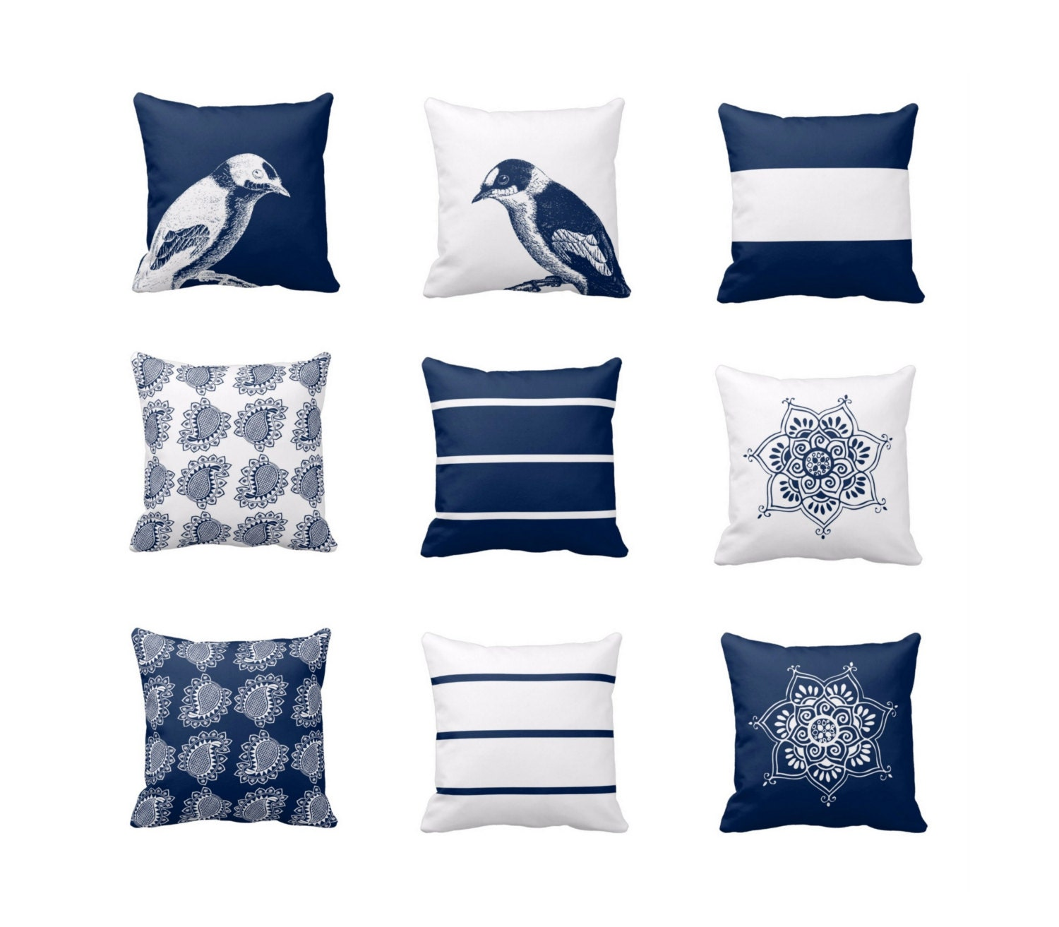 Throw Pillows For Navy Blue Couch : Navy White Throw Pillow Covers Navy Blue White Decor Modern