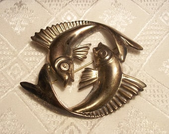 Pisces,sterling silver, antique brooch