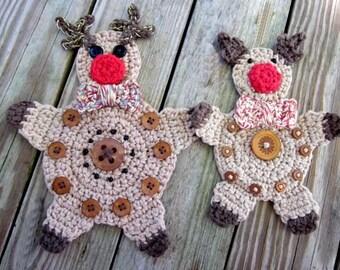 Rudolph Reindeer Christmas Applique Crochet Pattern  #Chr0008