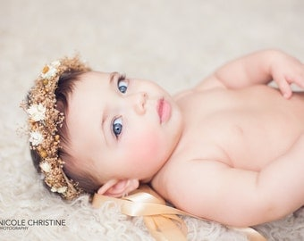 Dried Baby's Breath Flower Crown - Gypsophila Baby Halo - Vintage Style Dried Floral Hair Wreath - Photo Prop - Baby Flower Girl