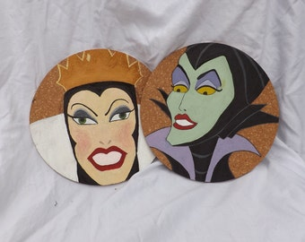 Handpainted Maleficent and Evil Queen Cork Wall Decor