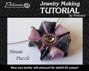 Step by step - Jewellery making - Tutorial - Pattern - Beaded pattern - Peyote stitching  Pendant - PDF - Download - Swarovski