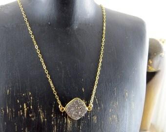 Druzy necklace, gold filled druzy necklace, grey druzy necklace, drusy necklace, raw quartz necklace, semi precious stone necklace, quartz
