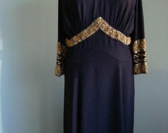 1940s Original Black Crepe & Gold Beaded Vintage Plus Size Dress
