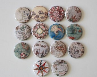 14 magnet,Kitchen Magnets,voyage magnet,sailing magnet,fridge magnet,map magnet,old map magnet,world map magnet, old world map button pin