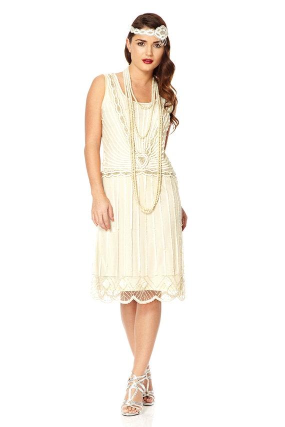 charleston hors mariage blanc robe annes 20 vintage inspir grand gatsby perl art dco demoiselle d - Robe Charleston Mariage
