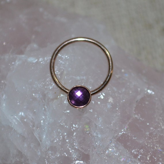 Gold Nipple Ring 16 gauge - 3mm Amethyst Nipple Piercing - Septum Ring 16g - Septum Piercing - Conch Earring - Cartilage Earring
