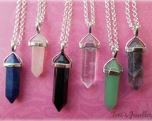 Gemstone Necklace - Natural Quartz Crystal, Healing Point - 1 in stock of each colour!