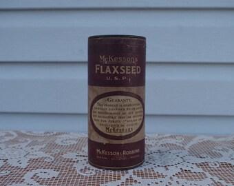 Antique Flaxseed Medicine Tin