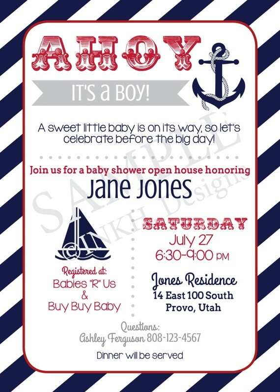 ahoy it 39 s a boy nautical themed baby shower invitation