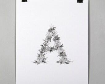 Floral Initial Print *Customizable*