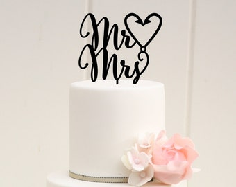 Mr & Mrs Fishing Hook Heart Wedding Cake Topper - Custom Cake Topper