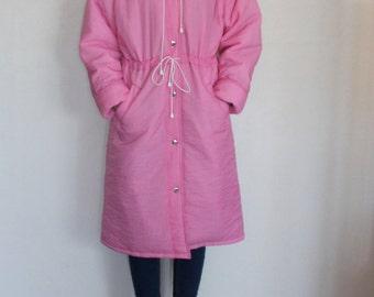 Neon Pink Womens Winter Coat Hooded Poofy Oversized Bubble Gum Pink Ski Wear Ski Parka Mid Length