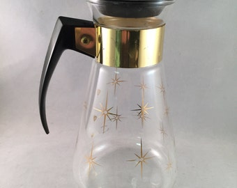 Corning Glass Carafe With Gold Starburst