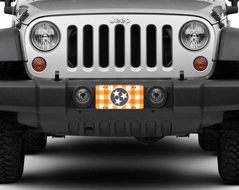 Tennessee License Plate Car Tag Orange White Checkerboard TN State Flag 3 Stars Smokey Grey Knoxville TN Aluminum 865 Front Car Plate 1034