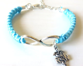 RN Nurse Charm Infinity Bracelet You Choose Your Cord Color(s)